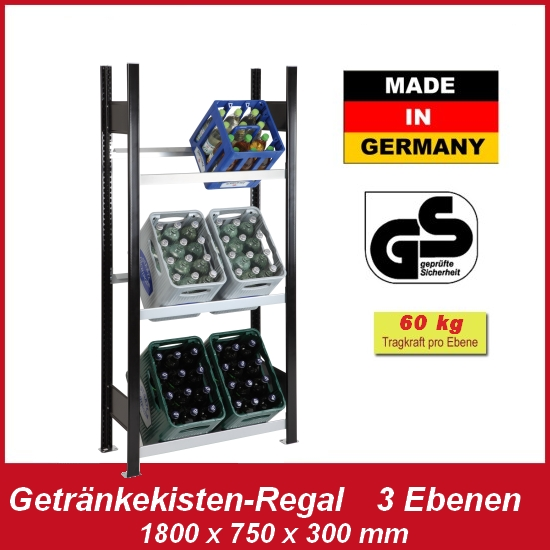 getr nkekisten regal f r 6 kisten neuware in industriequalit t made in germany ebay. Black Bedroom Furniture Sets. Home Design Ideas