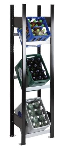 SCHULTE Getränkekisten-Grundregal 1800 x 400 x 300 mm, 3 Ebenen