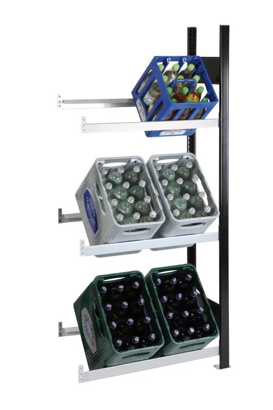 SCHULTE Getränkekisten-Anbauregal 1800 x 750 x 300 mm, 3 Ebenen
