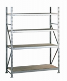 META MINI-RACK Grundregal 2500 x 2600 x 650 mm, 4 Ebenen, Spanplattenauflage