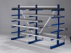 META ATLAS Kragarmregal 2000 x 6750 x 2x500 mm, 6 Ständer