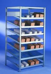 META CLIP Schrägboden-Grundregal 2000 x 1000 x 800 mm, 8 Böden inkl. Fachteilerdrähte, einseitig