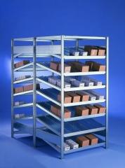 META CLIP Schrägboden-Grundregal 2000 x 1000 x 500 mm, 8 Böden inkl. Fachteilerdrähte, doppelseitig