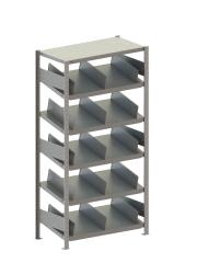 META CLIP Schrägboden-Grundregal 2000 x 1000 x 500 mm, 6 Böden inkl. Fachteilern, einseitig