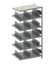 META CLIP  Schrägboden-Anbauregal 2000 x 1000 x 500 mm, 8 Böden inkl. Fachteilerdrähte, einseitig