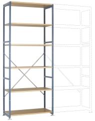 MANUFLEX Planoflex Grundregal 2500 x 1030 x 800 mm, 6 Böden
