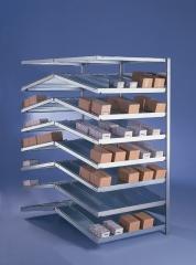 META CLIP  Schrägboden-Anbauregal 2000 x 1000 x 800 mm, 8 Böden inkl. Fachteilerdrähte, doppelseitig