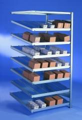 META CLIP  Schrägboden-Anbauregal 2000 x 1000 x 800 mm, 8 Böden inkl. Fachteilerdrähte, einseitig