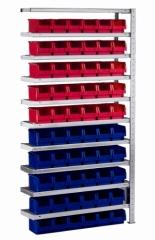 META CLIP Anbauregal 2000 x 1000 x 300 mm, 10 Böden, 60 Kästen