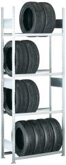 META CLIP Reifengrundregal 2500 x 1000 x 400 mm, 4 Ebenen