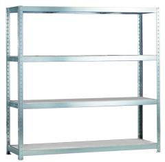 META SPEED-RACK Weitspannregal 2470 x 2500 x 600 mm, 4 Ebenen, Stahlpaneelböden
